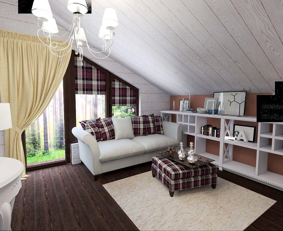 уютная белая комната в деревянном доме
