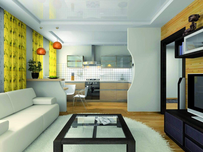 Дизайн совместной кухни и зала