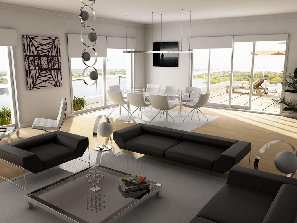 черная гостиная и белая кухня