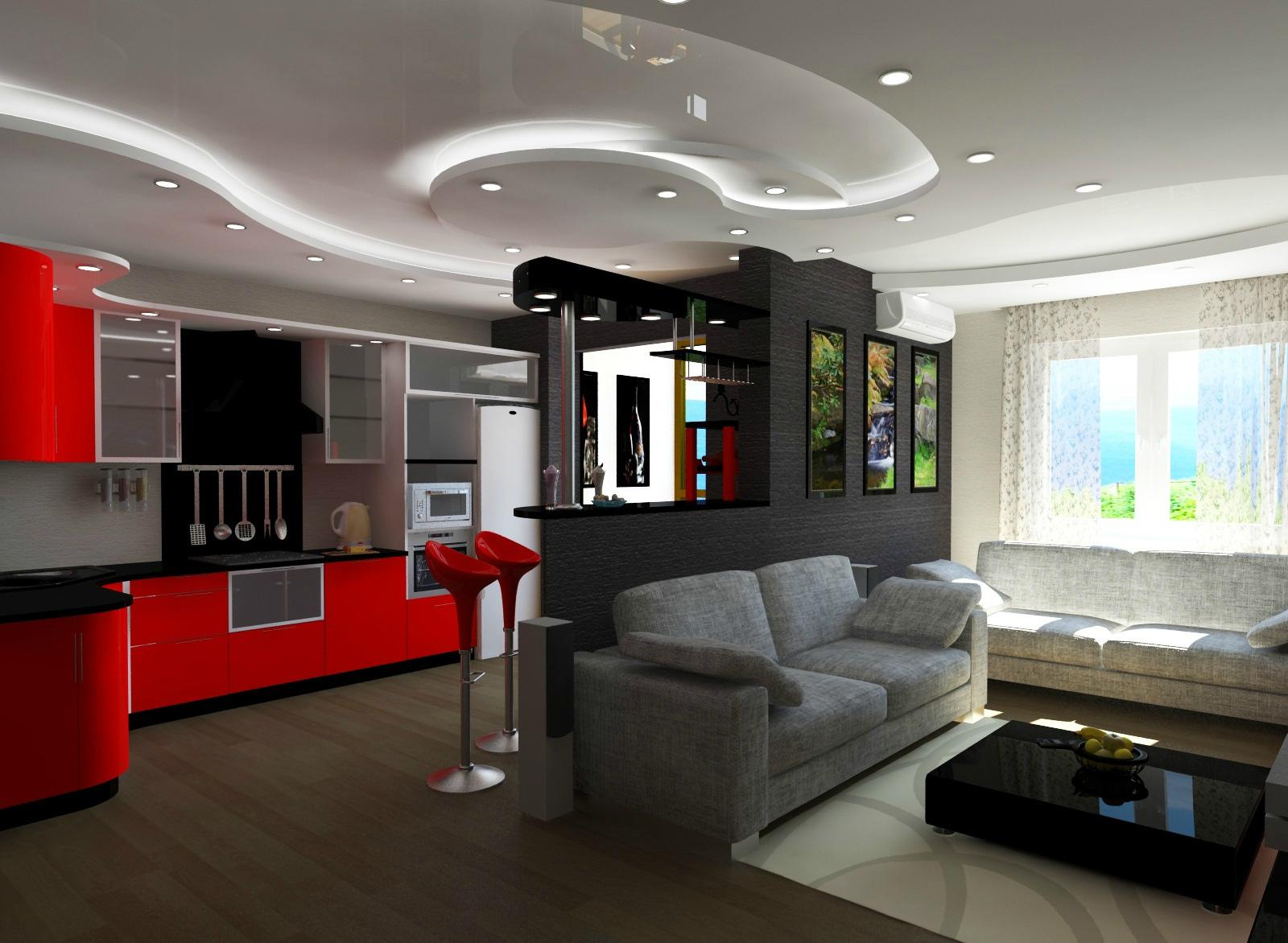 шикарный дизайн кухни-гостиной