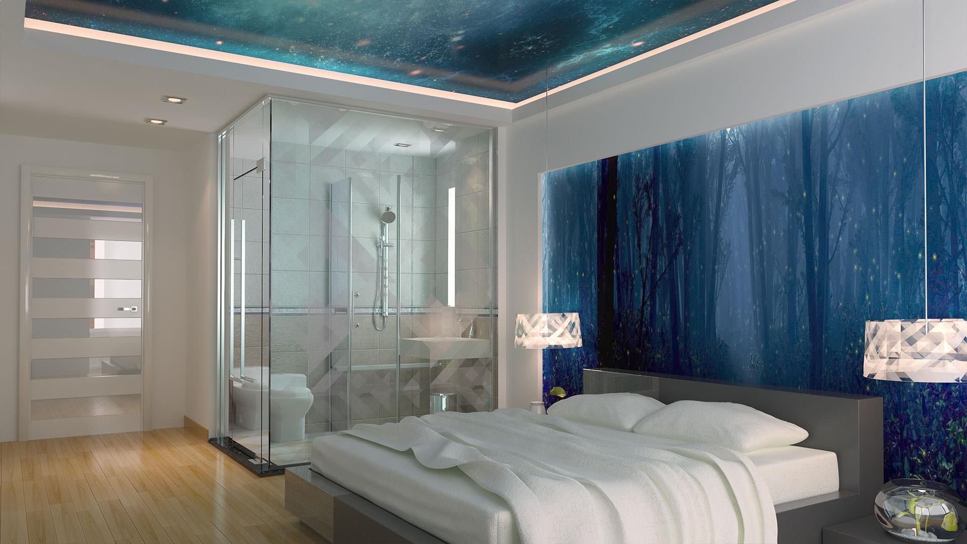 Дизайн потолка и обоев в спальне идеи 34