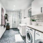 Стиральная машина в ванной: удачное расположение мини-прачечной в комнате гигиены