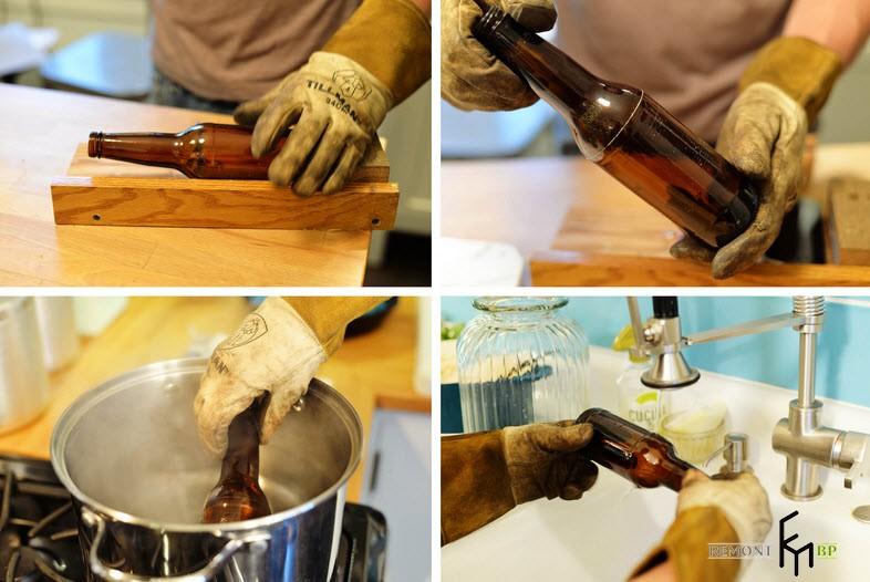 Простая ваза из стеклянной бутылки своими руками: инструкция по изготовлению на фото