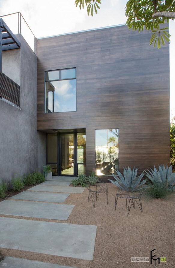 Дорожка из плит к дому в стиле модерн
