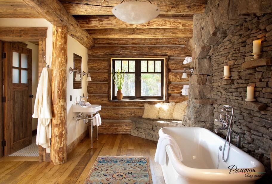 Грубый каменть в интерьере ванной комнаты в деревенском стиле