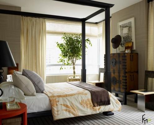 Спальня с живыми растениями
