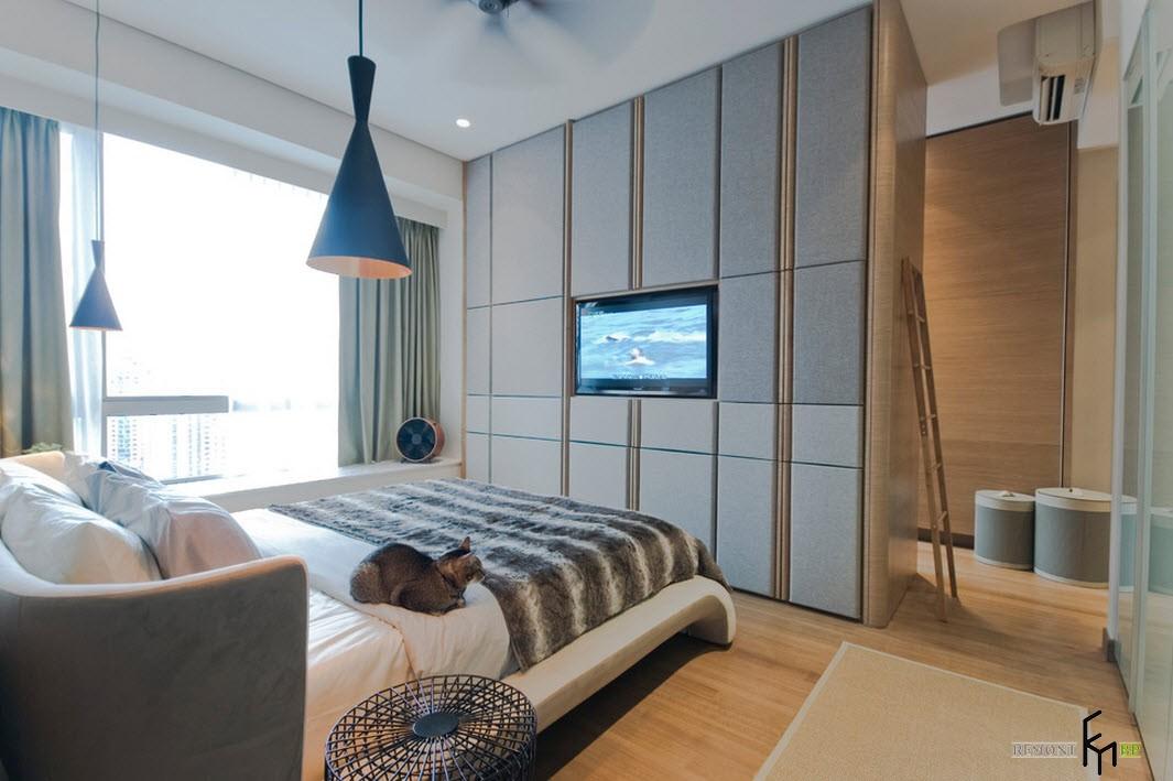 Мягкие панели на стенах в спальне