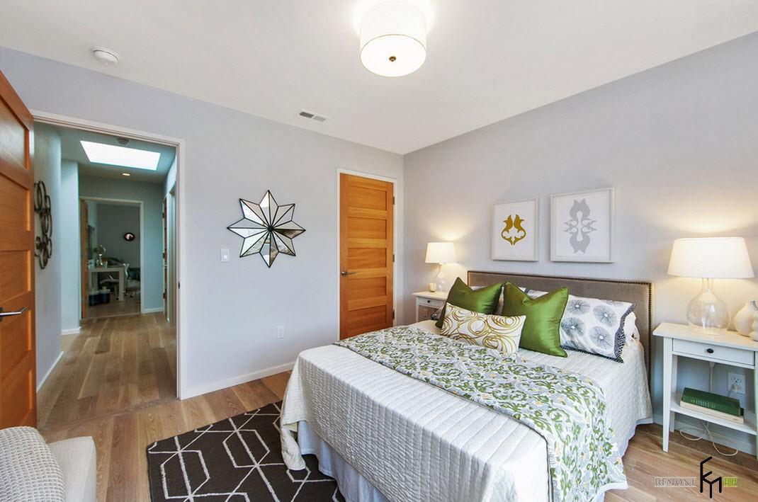 Спальня с зеленью