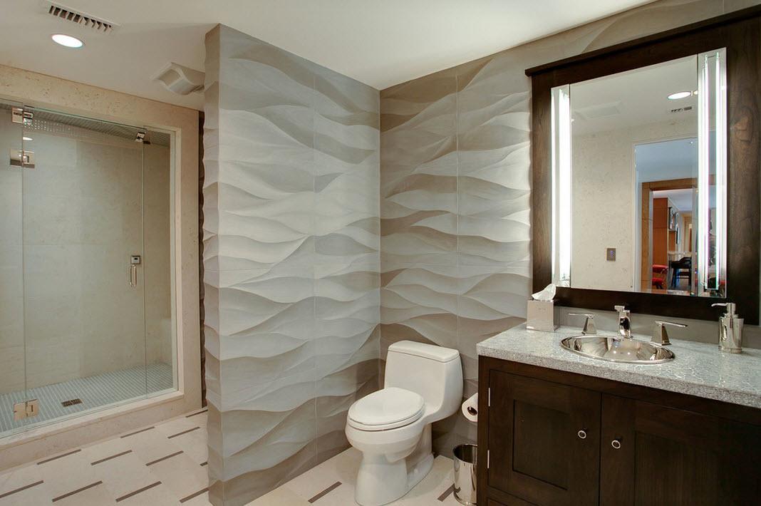 Объемные фигурные панели в ванной