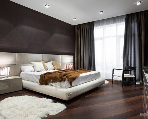 Темно-серые шторы в спальне