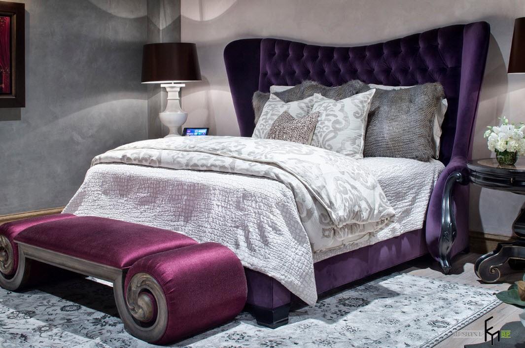 Кровать с фиолетовым изголовьем