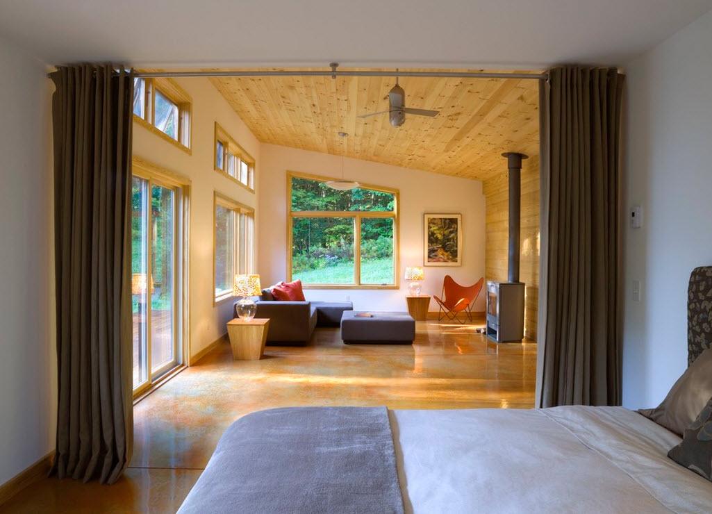 Зонирование помещения при помощи шторы