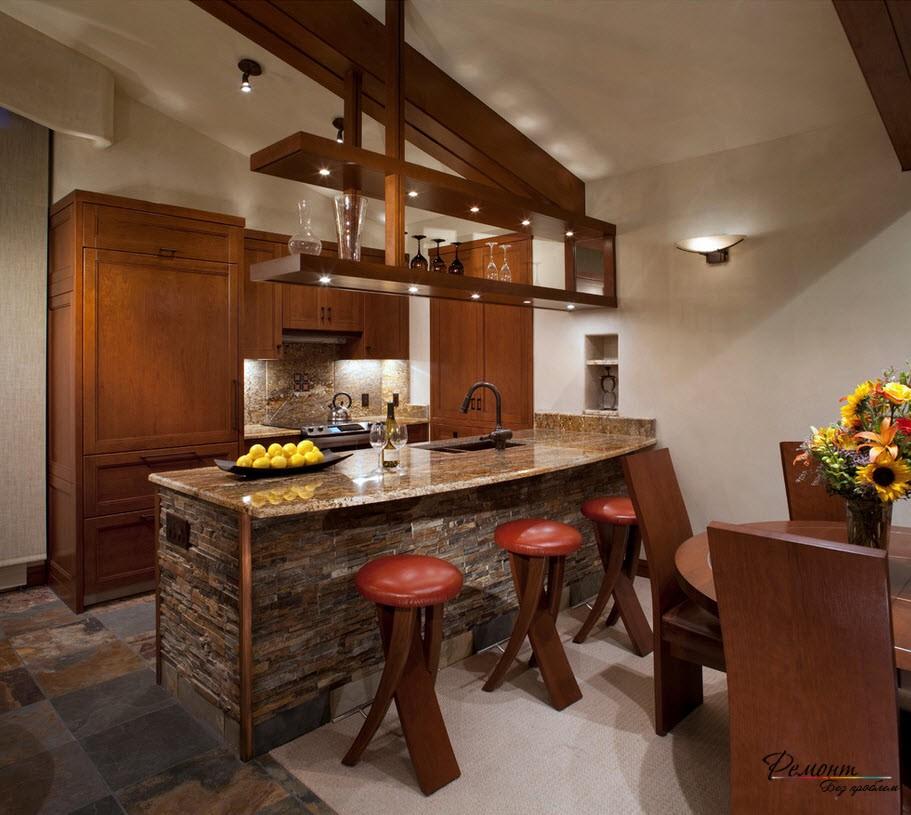 Кухня из тёмного камня