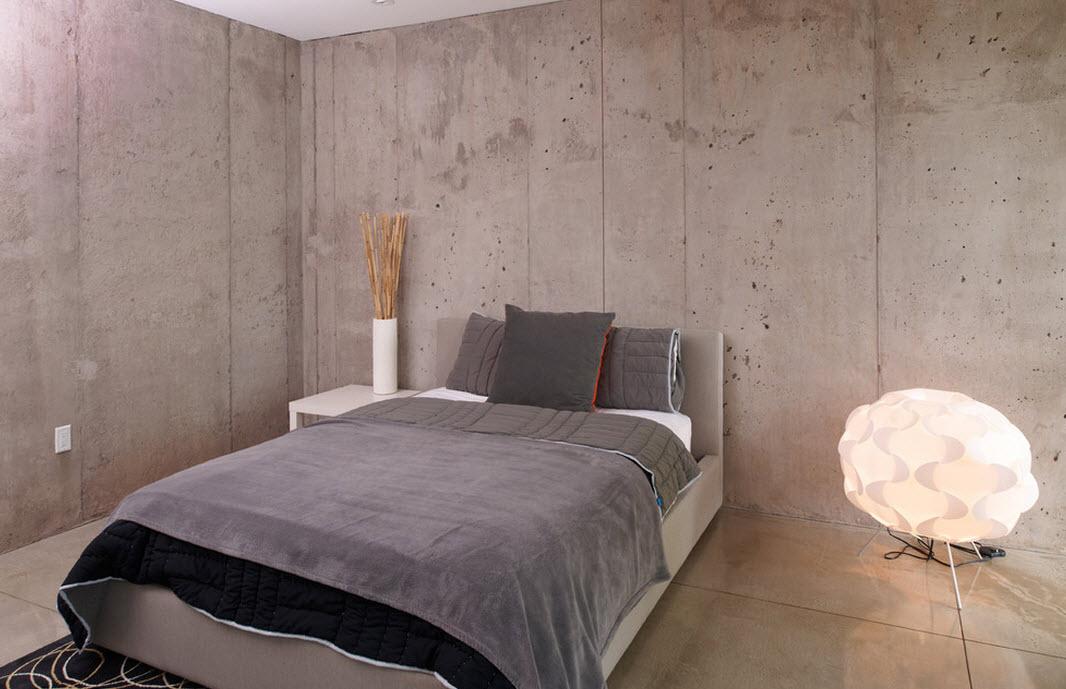 Серые поверхности в спальне
