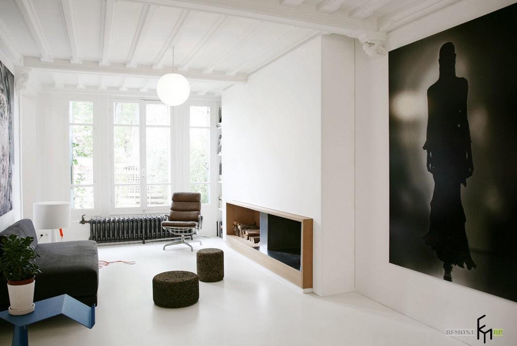 Черно-белые фотообои в зале