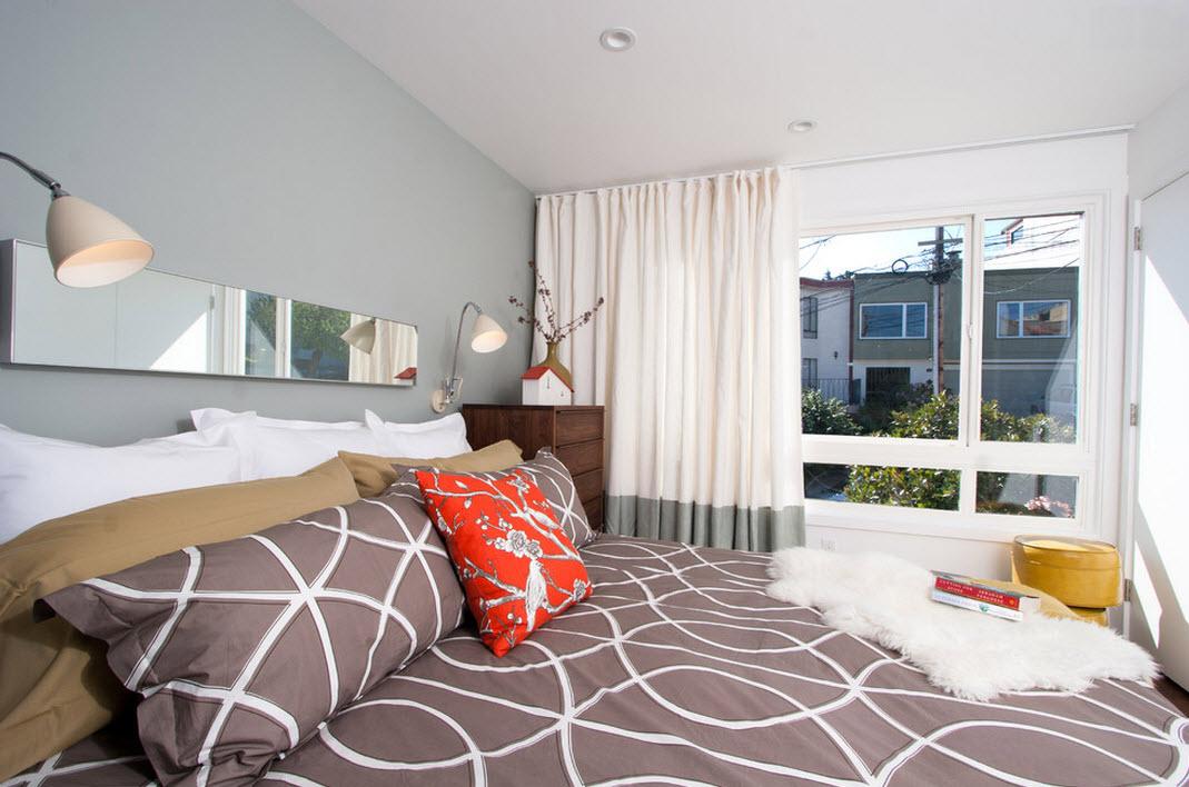 Сочетание серого и белого цвета в интарьере спальни