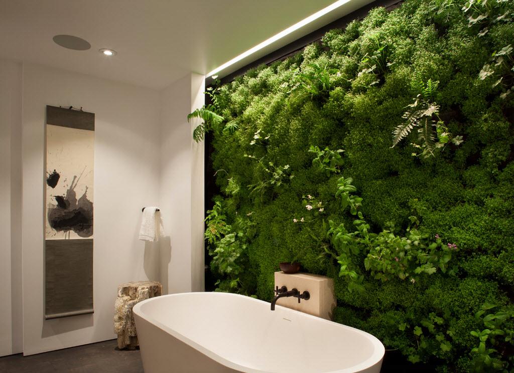 растительная стена в ванной