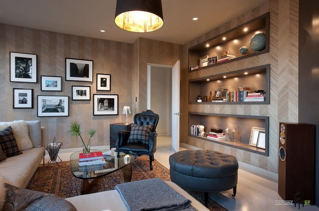 Обои в гостиной: 100 лучших фото идей для дизайна, Оформление стен обоями на фото
