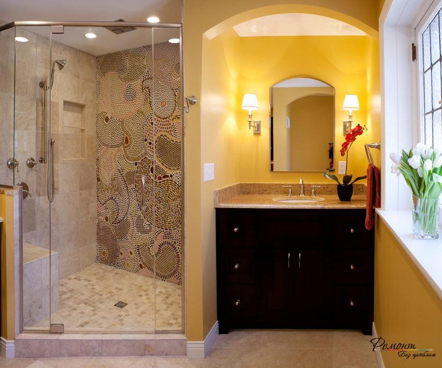 Дизайн ванных комнат с душевыми уголками