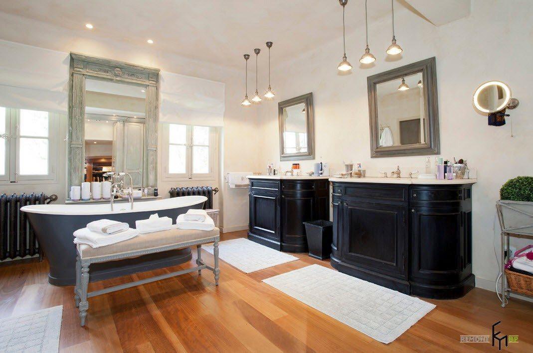Темные оттенки в ванной