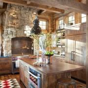 Рельефный камень на кухне