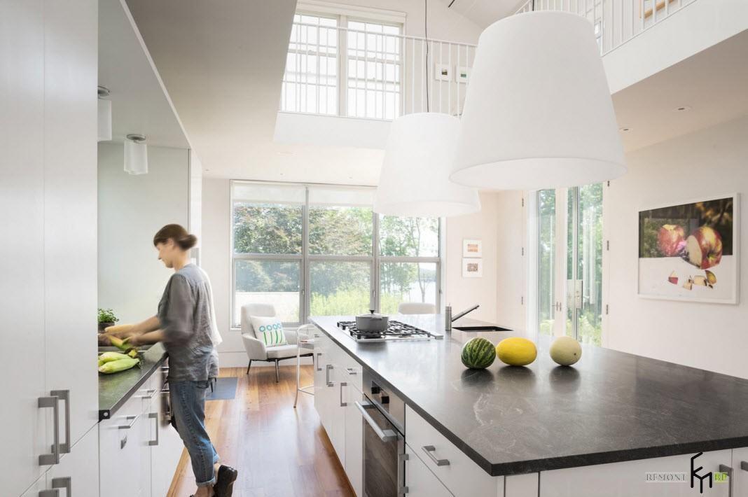 Просторное помещение кухни