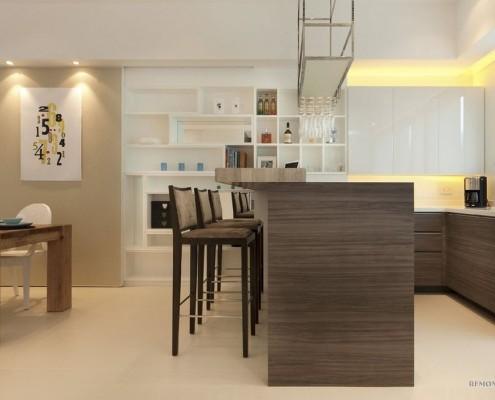 Выгнутая барная стойка на кухне