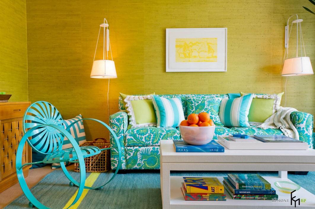 Желто-бирюзовый дизайн