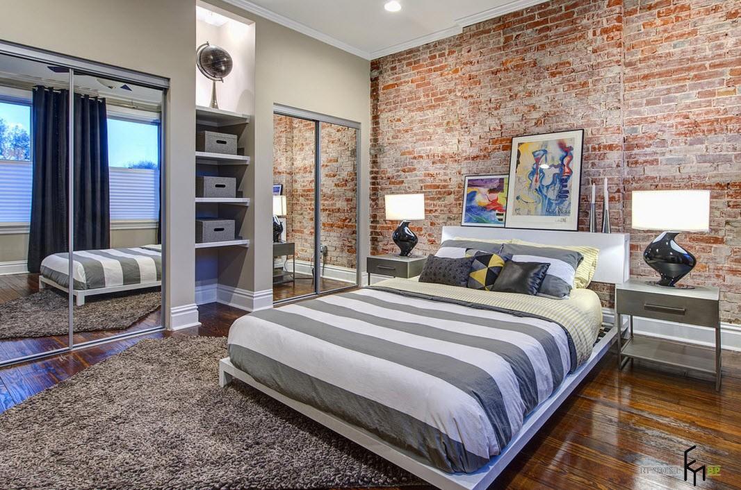 Спальня с кирпичом