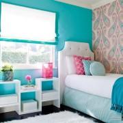 Бирюзовый и розовый в комнате для девочки