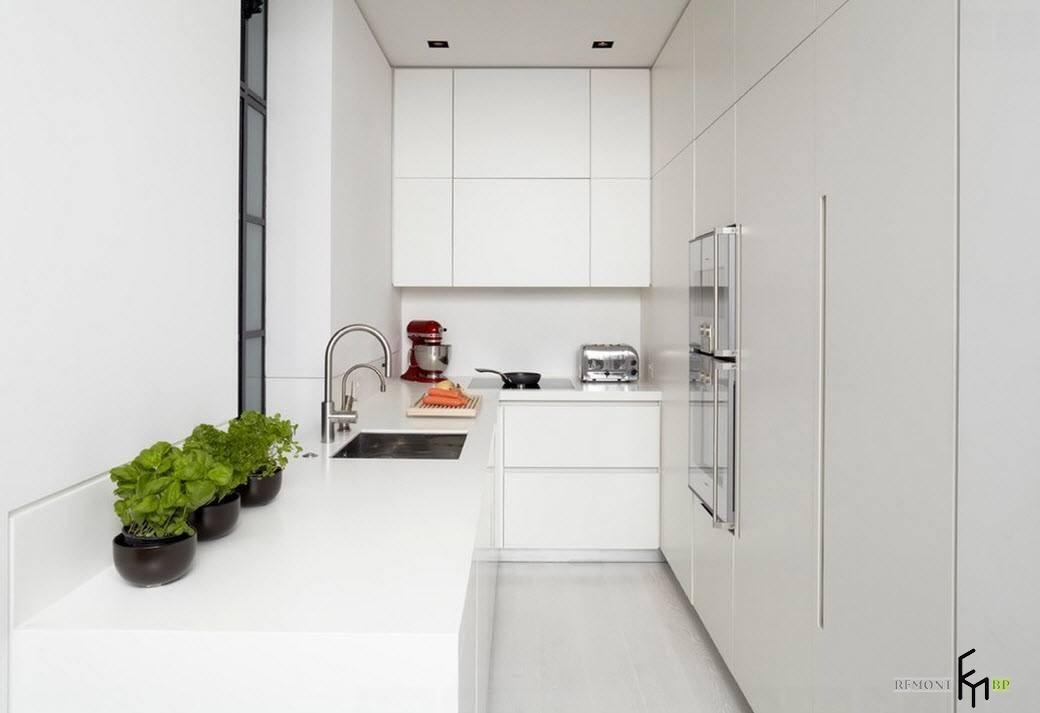 Белые кухонный шкафы
