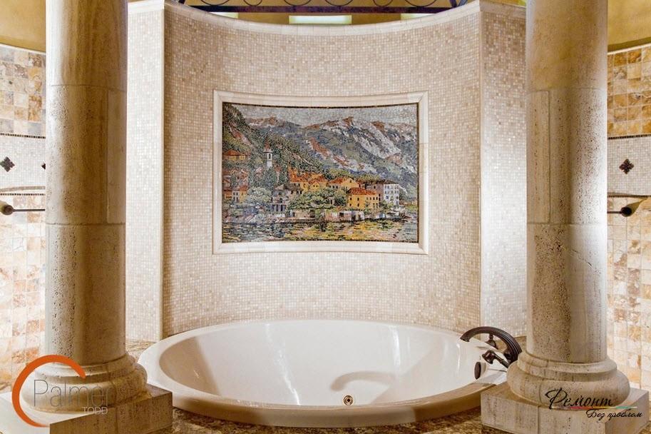 Картина из мозайки в ванной комнате