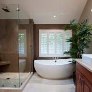 Большая ванная с живым растением