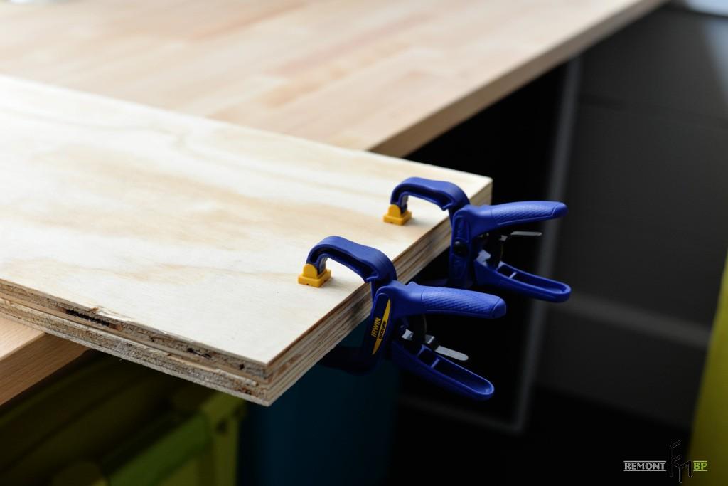 Третий этап изготовления полочки на веревках