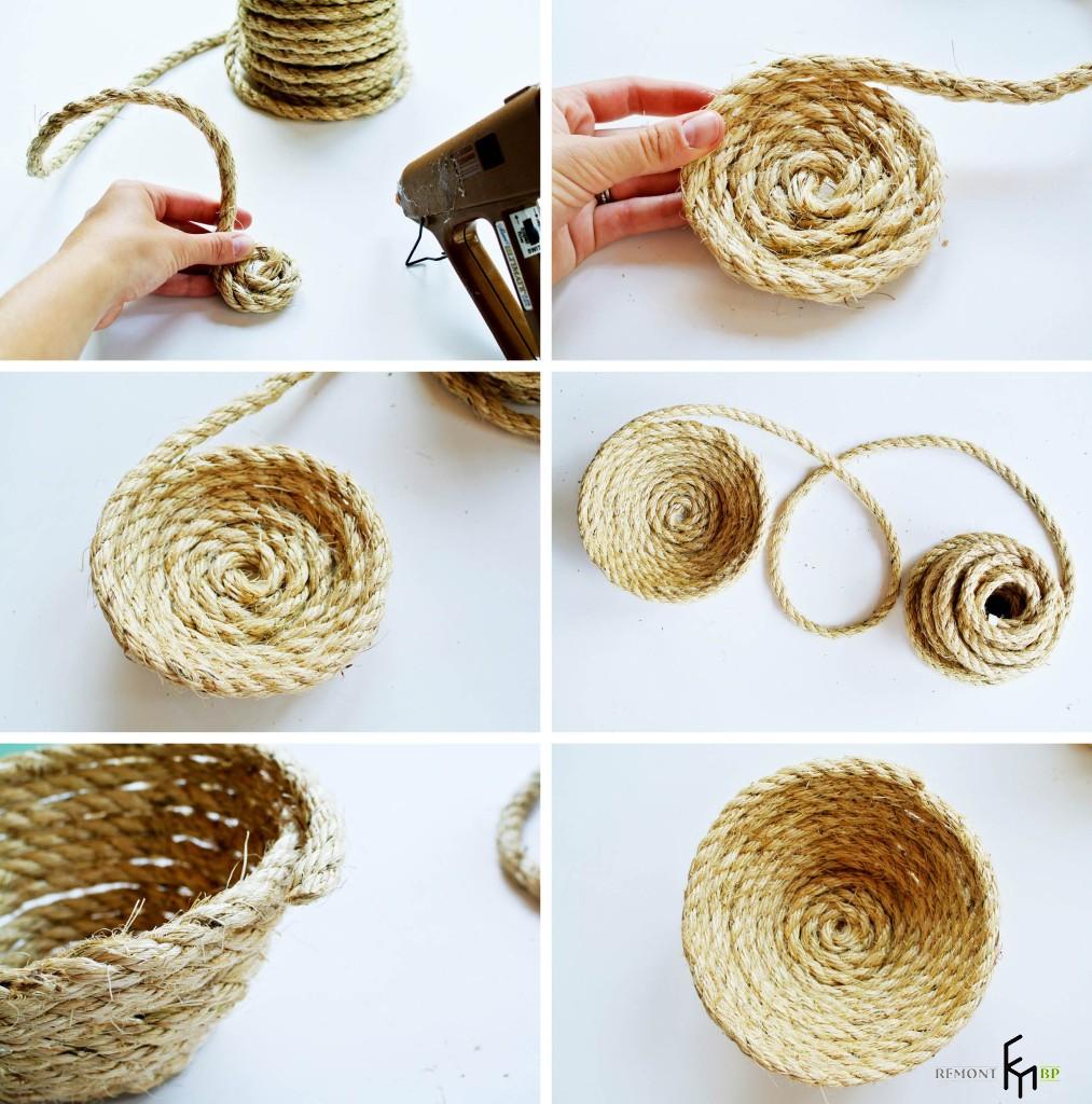 Изготовление корзинки из веревки. Третий шаг