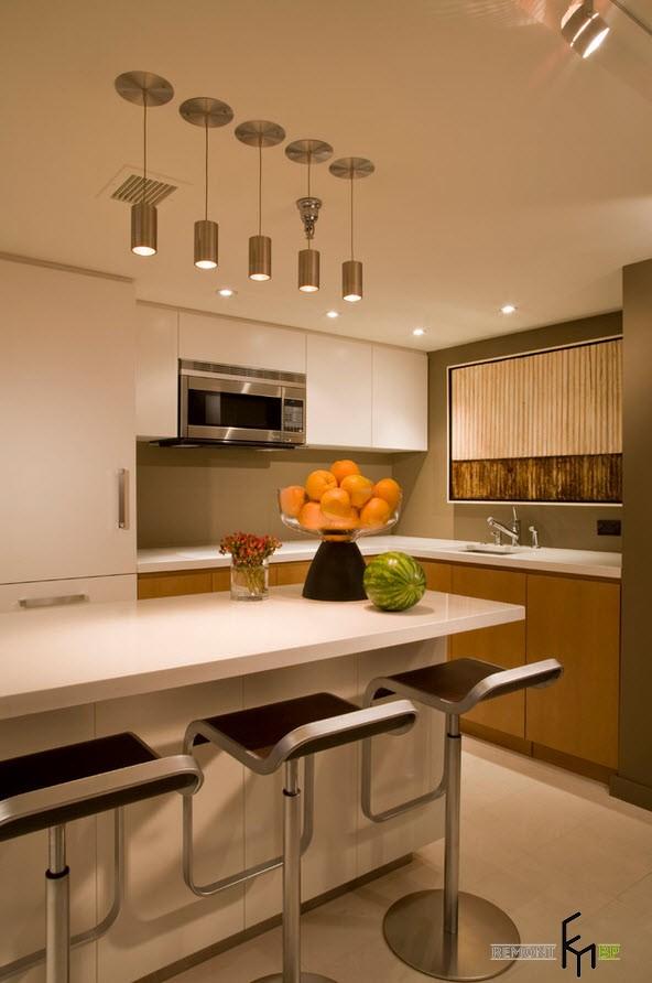 подвесные потолочные светильники на кухне