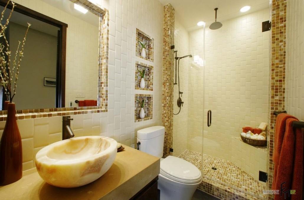 Ванная бежевая мозаика дизайн