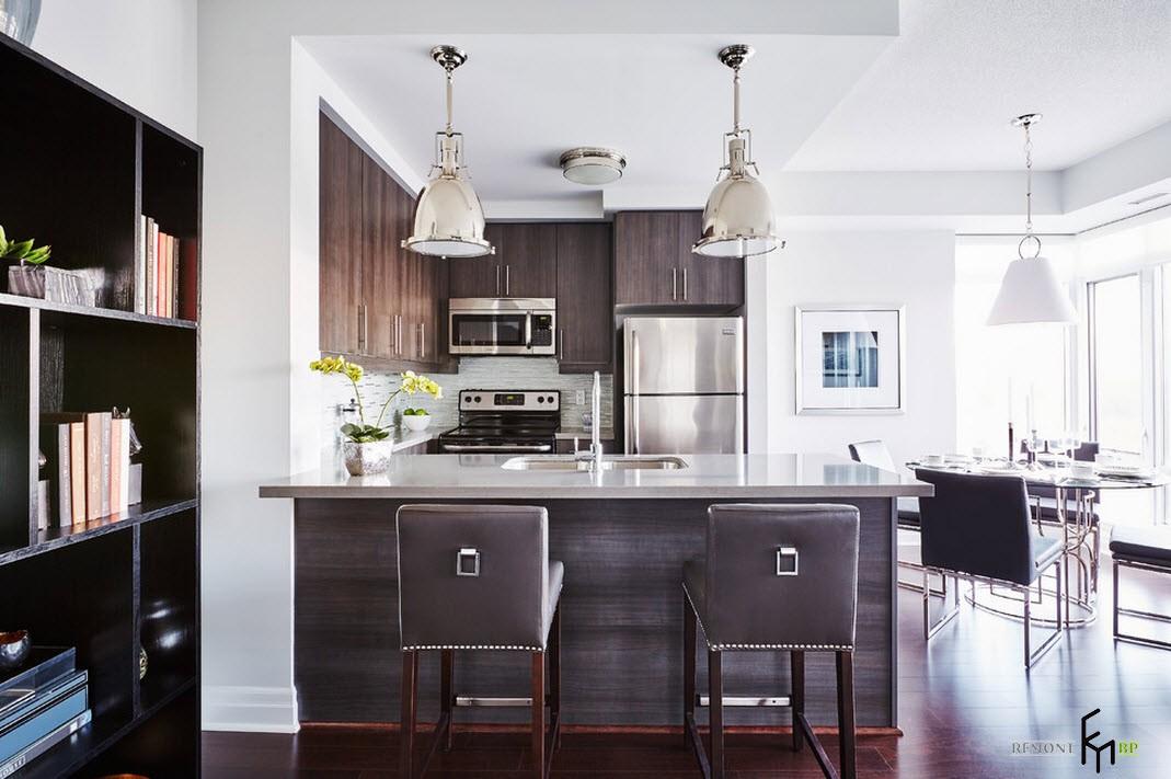 Выделение кухонной зоны с помощью мебели