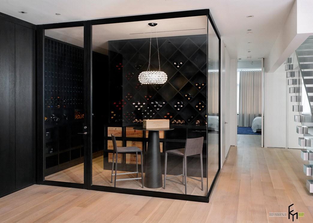 Остеклённый винный уголок в стиле минимализм