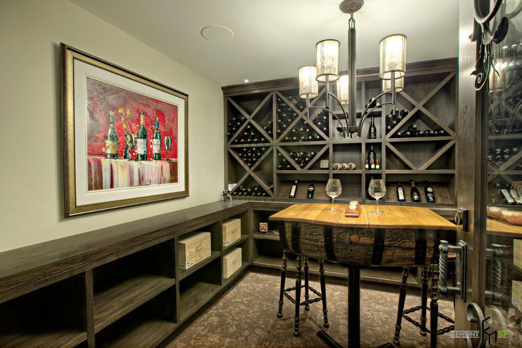 Деревянные стеллажи для хранения вина