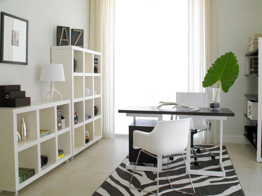 Сочетание черного и белого в интерьере кабинета