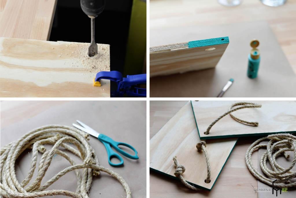 Пятый этап изготовления полочки на веревках