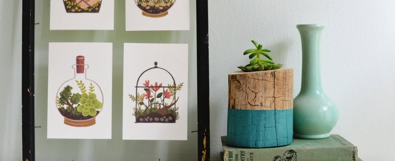 Горшок для цветов из ствола дерева