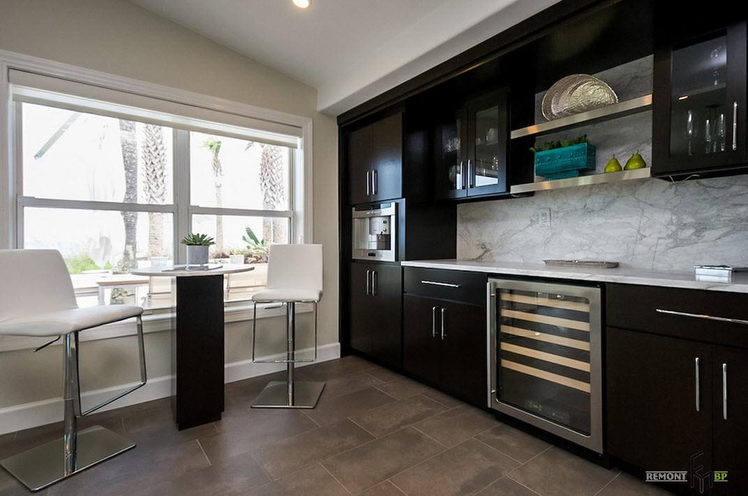 Темная мебель для кухни