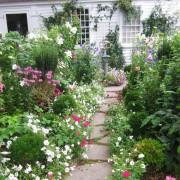 Многоуровневый цветник во дворе
