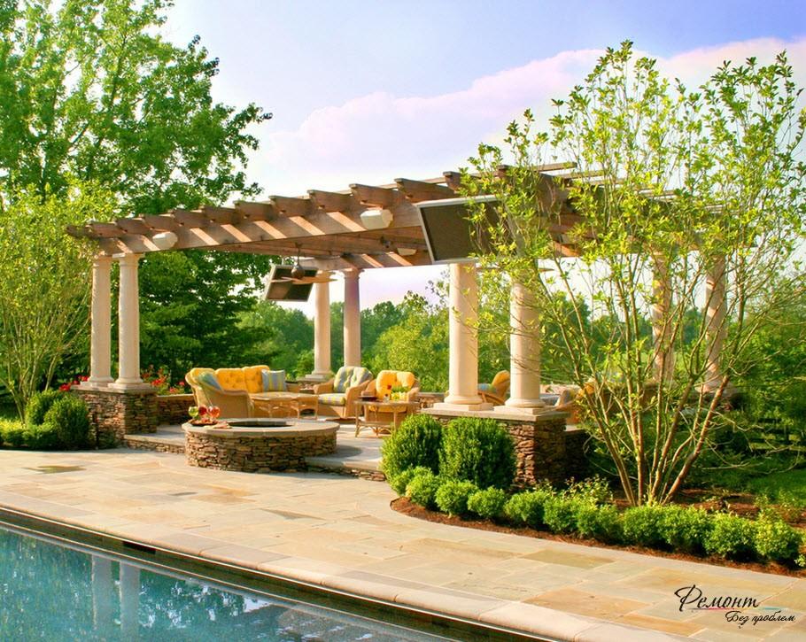Пергола: красивый дизайн навесов для загородного дома или дачи на фото