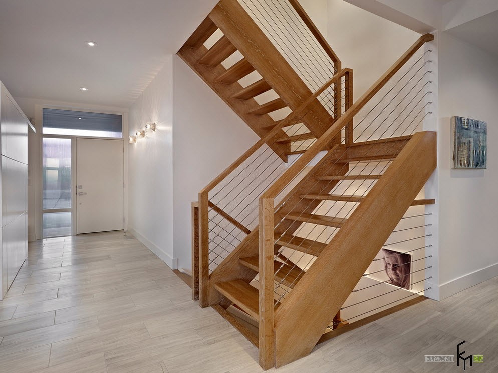 Двухмаршевая лестница в стиле модерн
