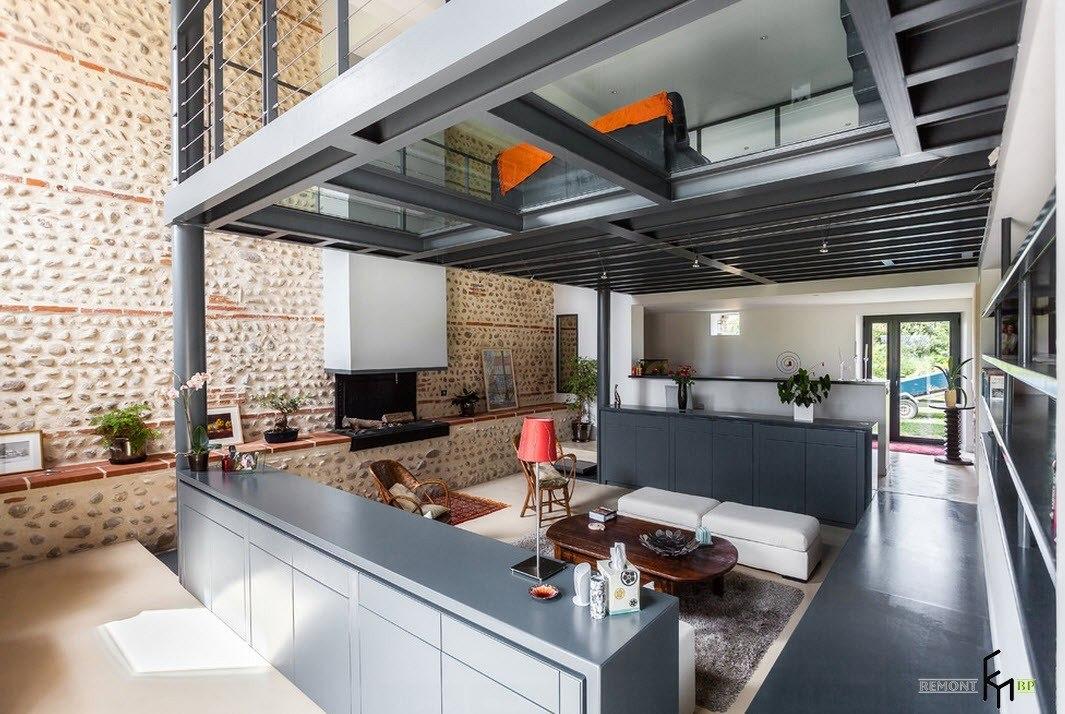 Индустриальность в дизайне гостиной