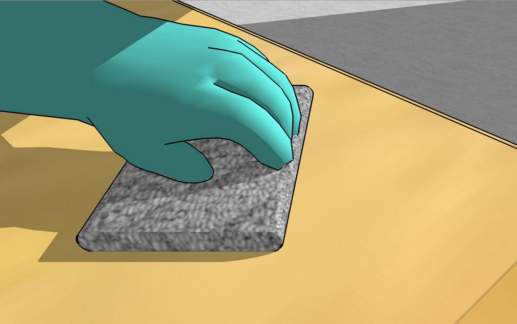 Обрабатываем поверхность после шлифования