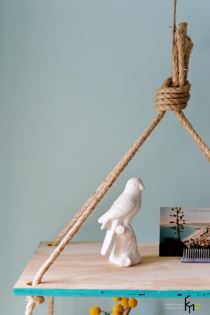 Седьмой этап изготовления полочки на веревках. Вторая часть
